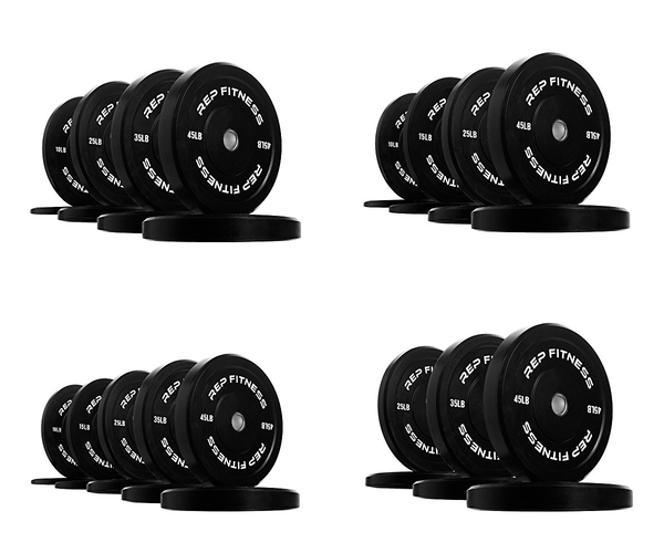 Black Rubber Bumper Plates for Strength and Conditioning Weightlifting Workouts