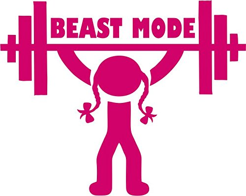 Weightlifting Beast Mode Girl - Lifting Barbell Overhead - Crossfit Vinyl Decal - Everyday Crosstrain