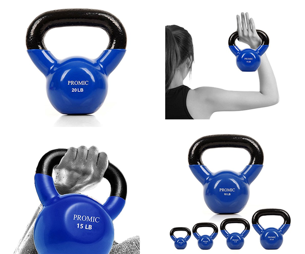 Vinyl Coated Kettlebell Solid Cast Iron Fitness Kettlebell Weight Sold as Single