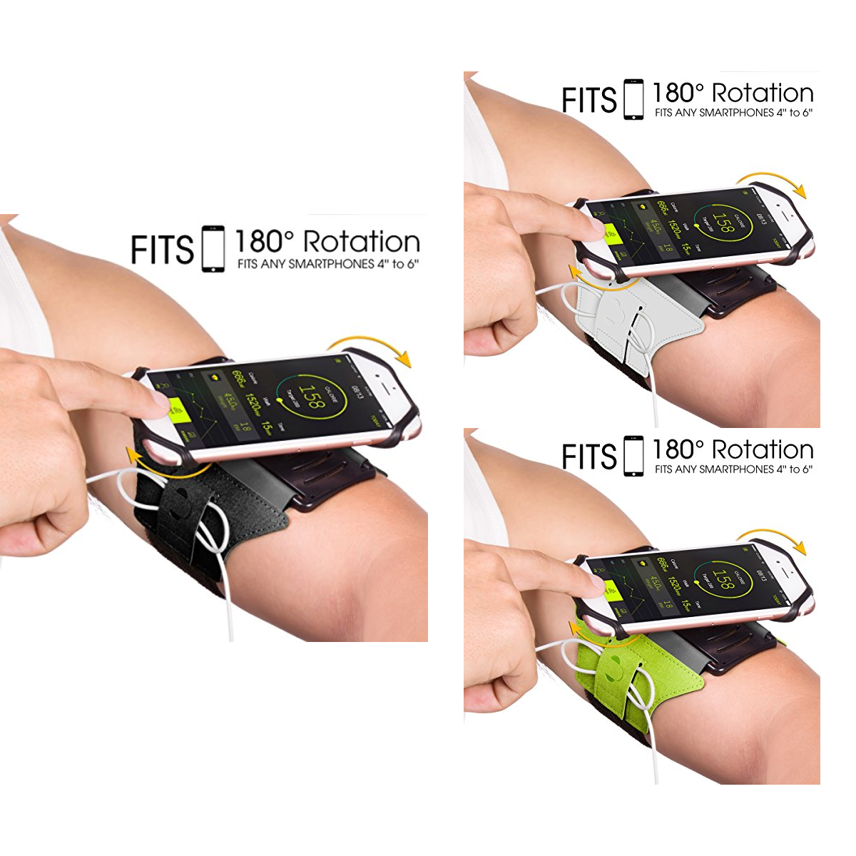 Universal Running Armband for all types of phones 180° Rotatable with Key Holder - Everyday Crosstrain