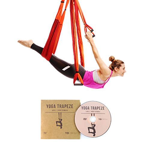 Orange Yoga Trapeze - Yoga Swing / Sling / Inversion Tool For Deep Core Strength - Everyday Crosstrain