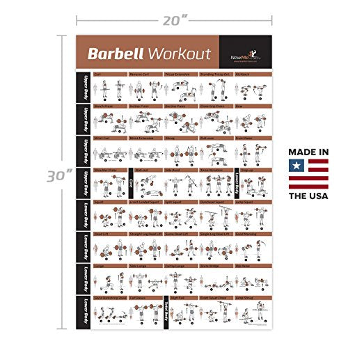 Laminated Barbell Workout Exercise Poster Home Gym Weight Lifting Bod Everyday Crosstrain