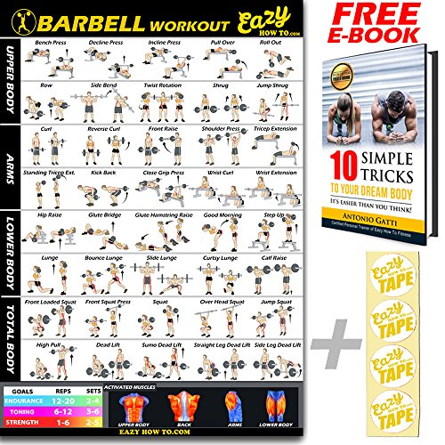 Barbell Weight Lifting Bar Exercise Workout BIG Banner Poster Home Gym Chart - Everyday Crosstrain