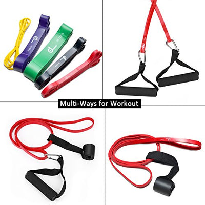 Set of 5 Pull Up Assist Resistance Bands for Stretch Mobility with Extra Handles