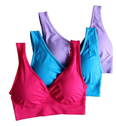 3-Pack Women's Seamless Wireless Sports Bra with Removable Pads & Comfort straps - Everyday Crosstrain