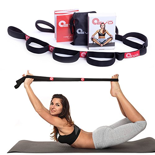 Yoga Elastic Stretching Strap with Loops Plus Carrying Bag Bonus eBook and Video - Everyday Crosstrain