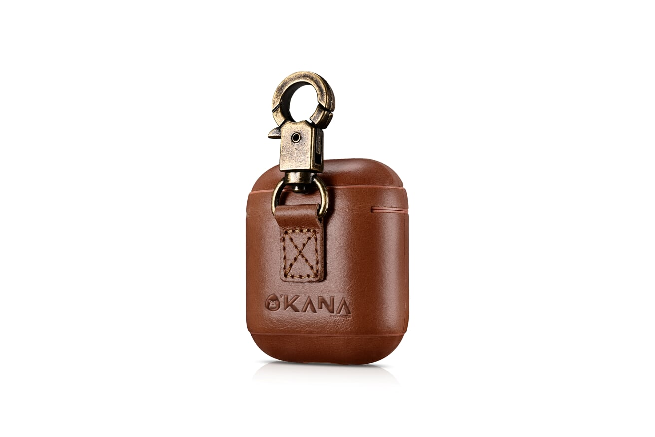 O'KANA Vintage Series Real Leather Airpods Case With The Metal Hook