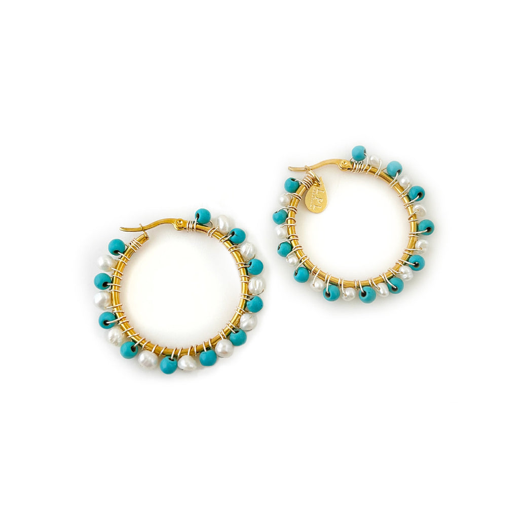 Turquoise and Freshwater Pearls Hoops Earrings