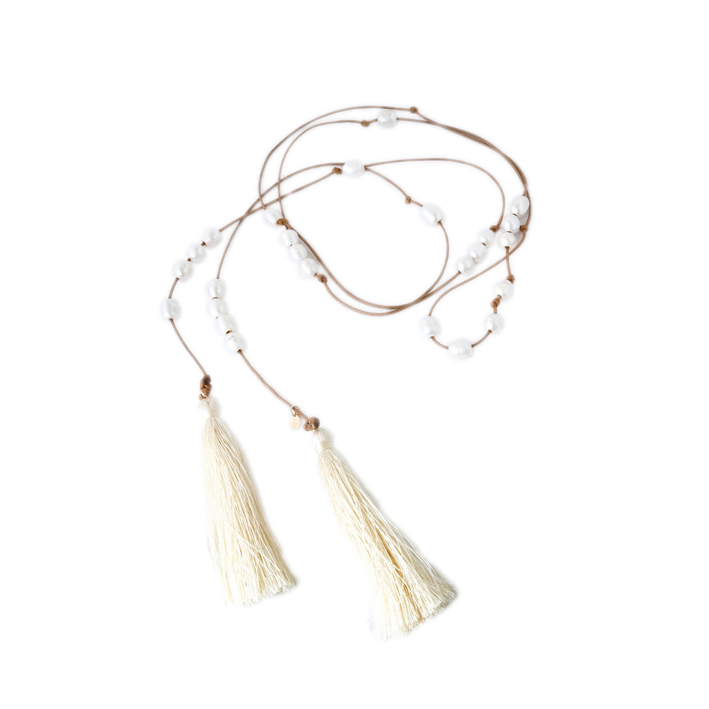 Galy Tan Silk Tassel Lariat Necklace