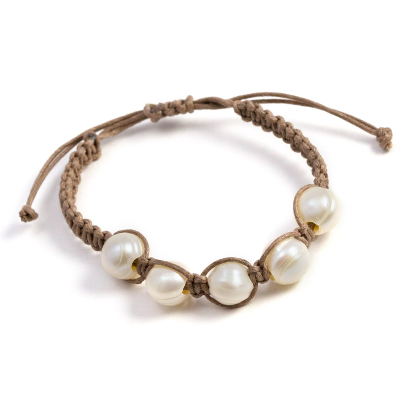 Sun Freshwater Pearls Tied on Cord Bracelet