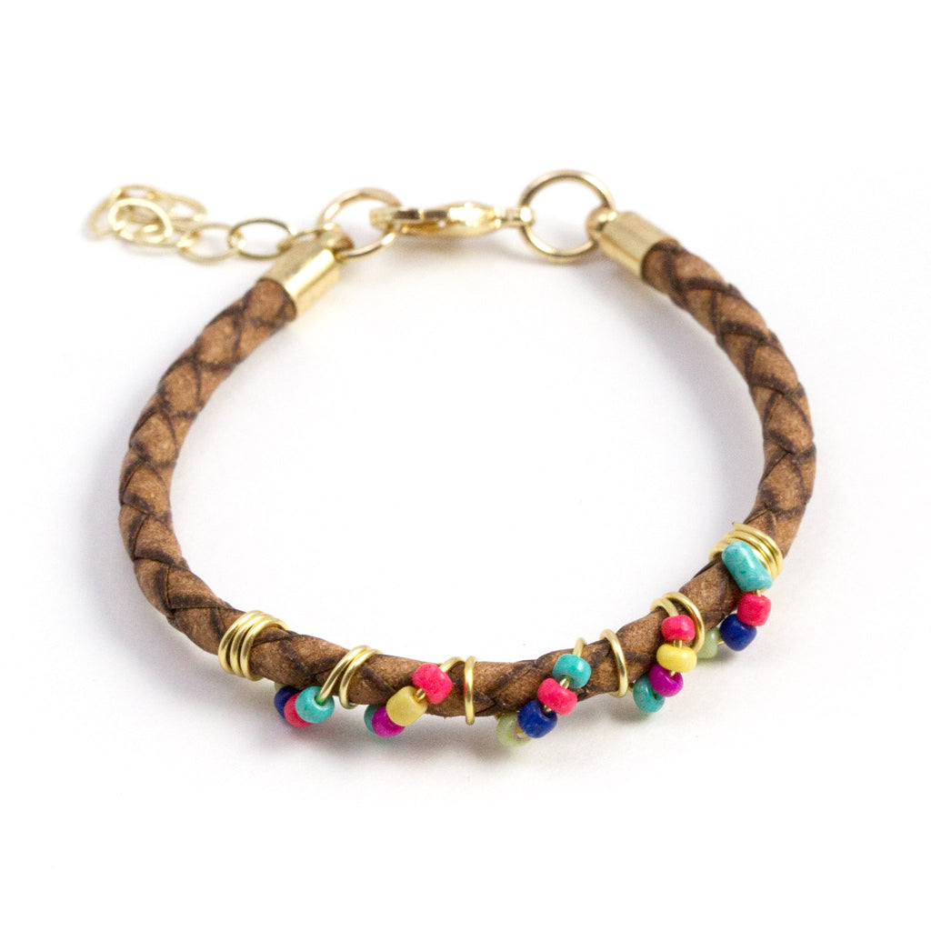 Multicolor Beads and Leather Bracelet
