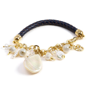 Noris Pearls and Leather Bracelet