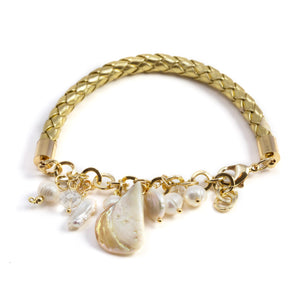 Noris Golden Pearls and Leather Bracelet