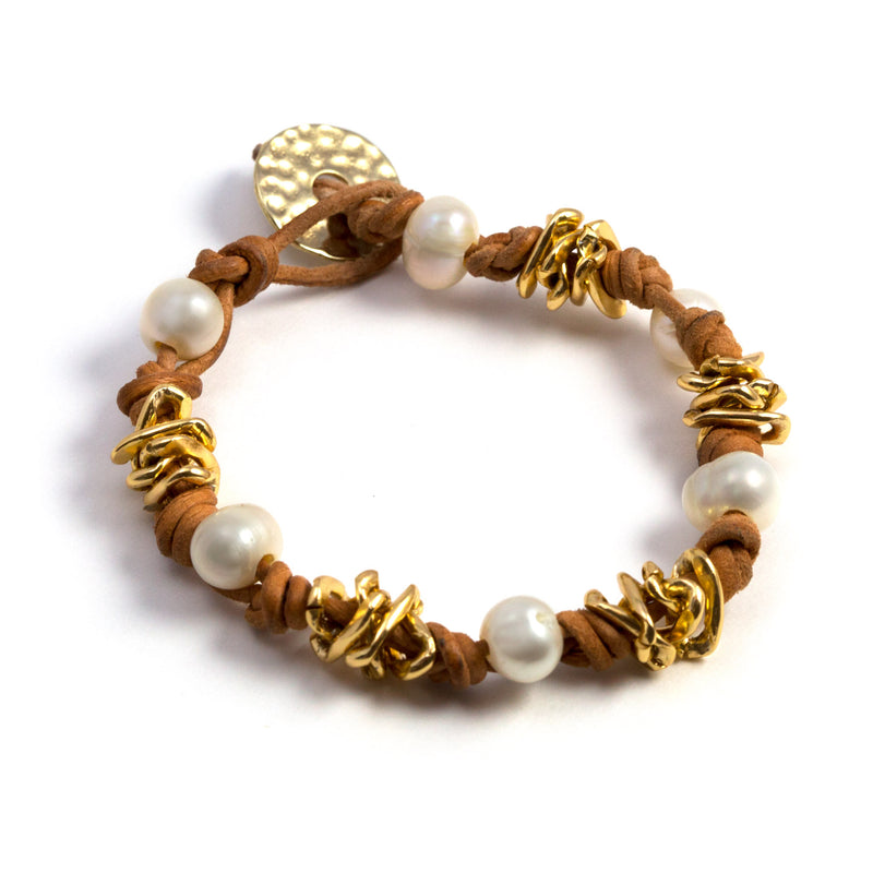 Sharon Leather, Chain and Freshwater Pearls Bracelet