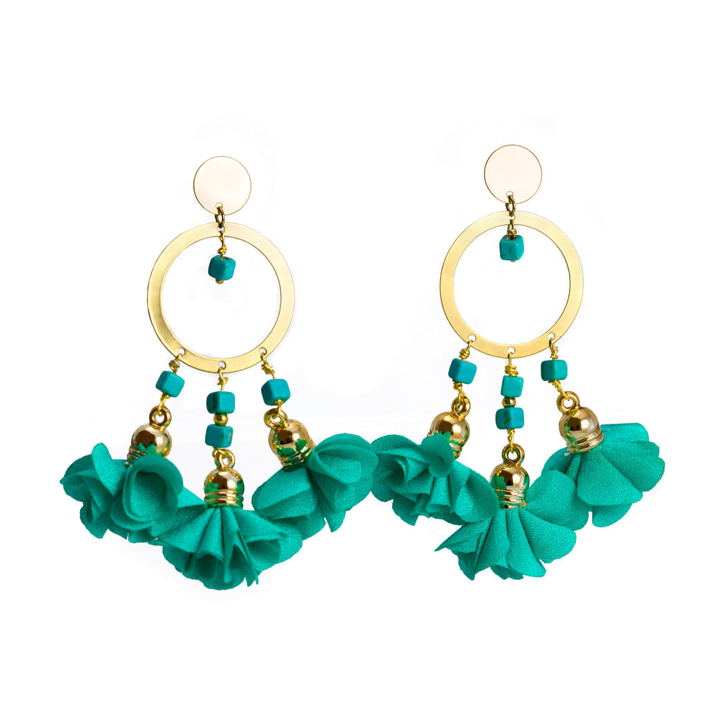 Mariale Aquamarine Flowers Earrings