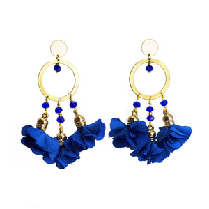 Mariale Royal Blue Flowers Earrings