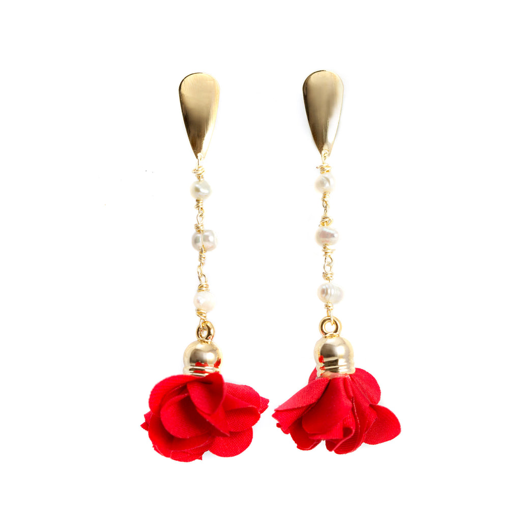 Ale Red Flower Earrings