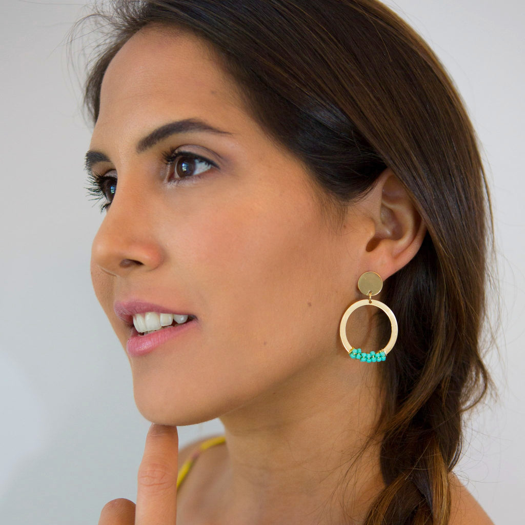 Melany Mint Beads Hoops Earrings