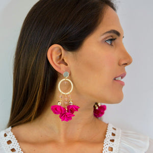 Mariale Pink Flowers Earrings