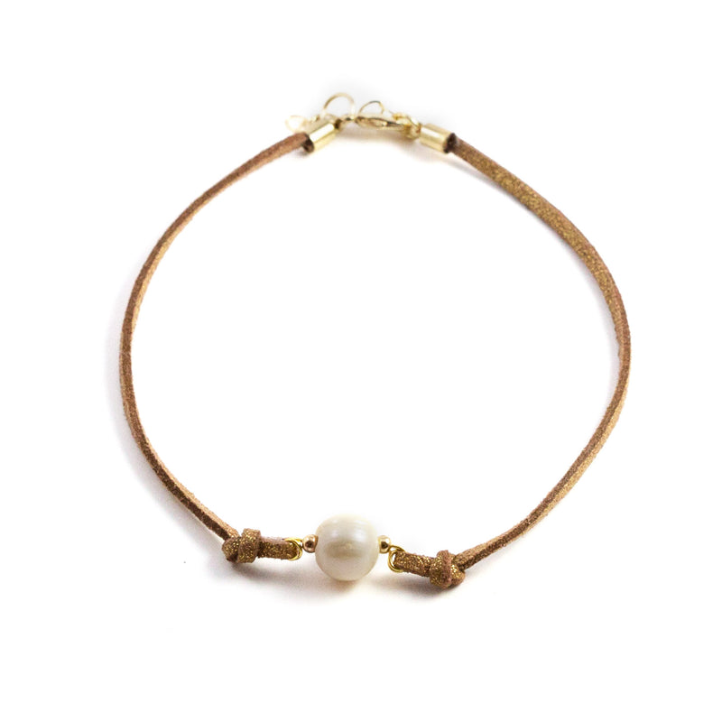 Paty Brown Freshwater Pearl and Suede Necklace