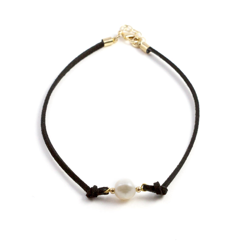 Paty Black Freshwater Pearl and Suede Necklace