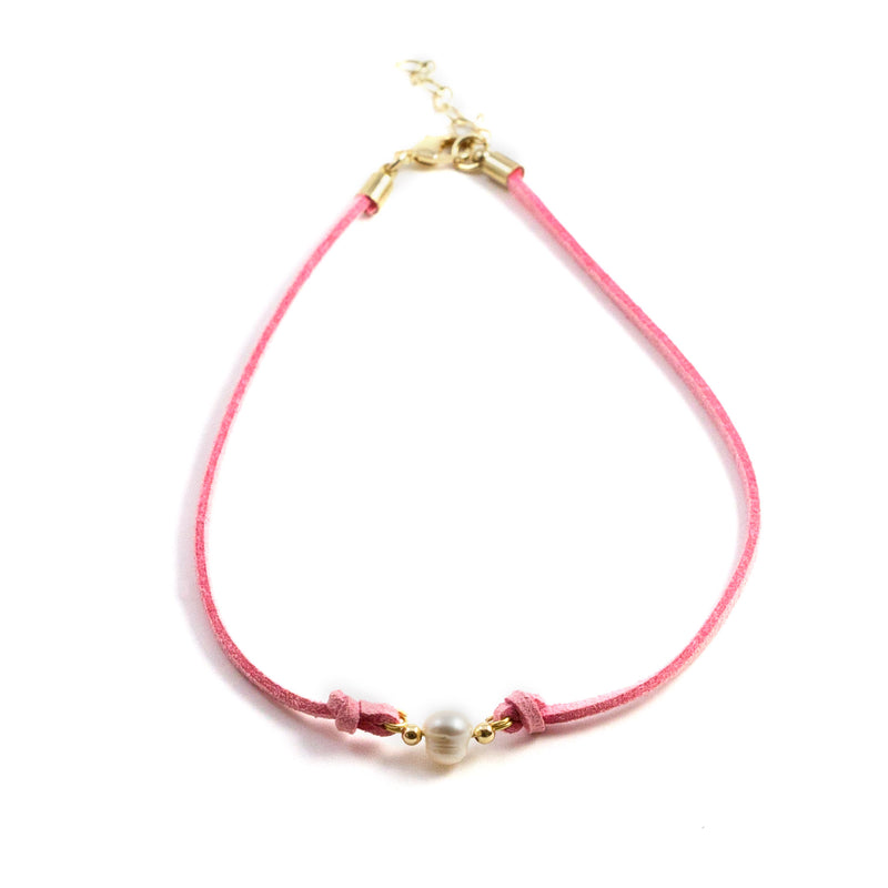 Paty Pink Freshwater Pearl and Suede Necklace