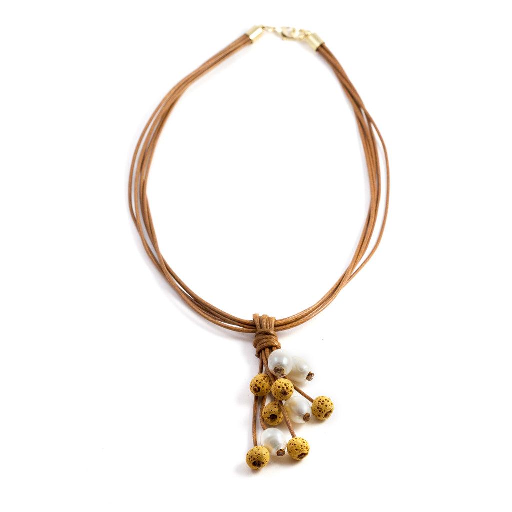 Meli Mustard Difusser Short Necklace Brown