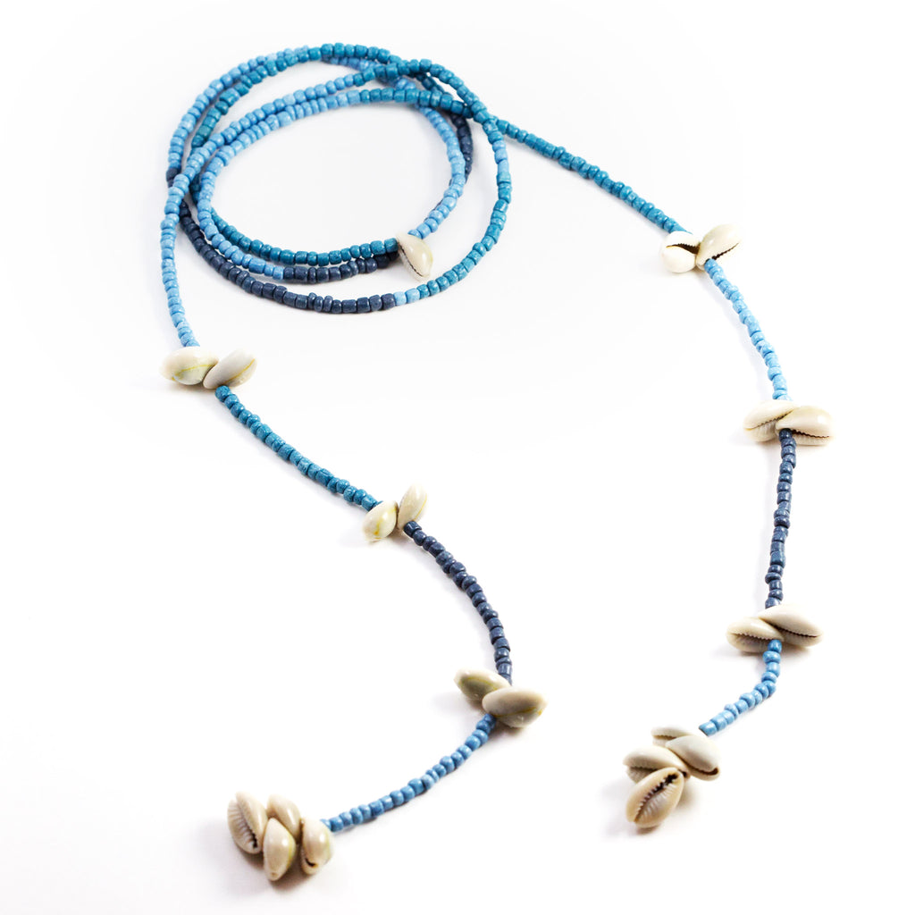 Patt Shells and Glass Beads Lariat Necklace