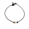 Alexa Black Leather and Freshwater Pearl Necklace