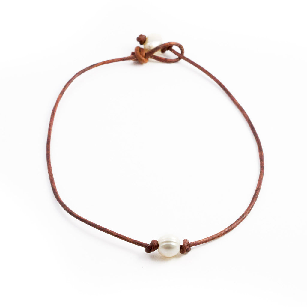 Alexa Leather and Freshwater Pearl Necklace