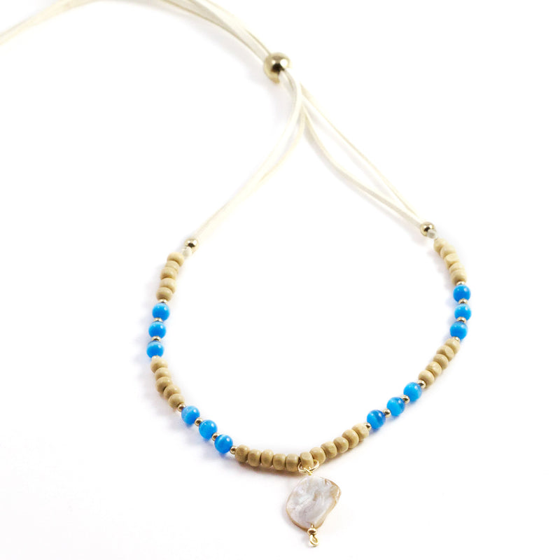 Lily Blue Stone, Wood and Shell Pendant Necklace