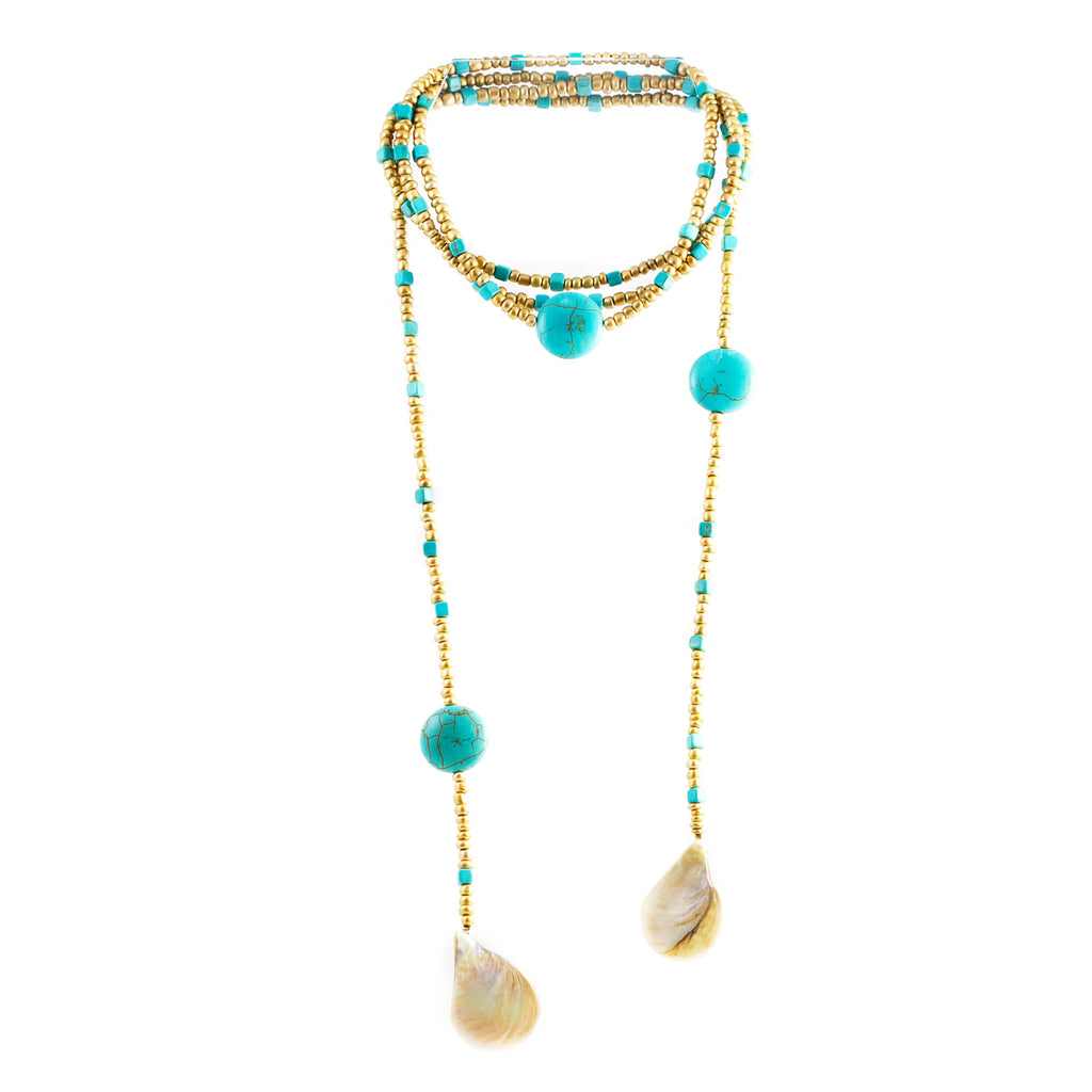 Olgui Turquoise Stones and Beads Lariat Necklace