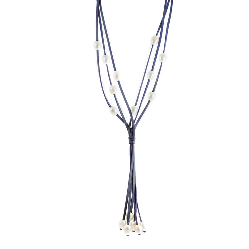 Lucero Navy Blue Freshwater Pearls Long Necklace