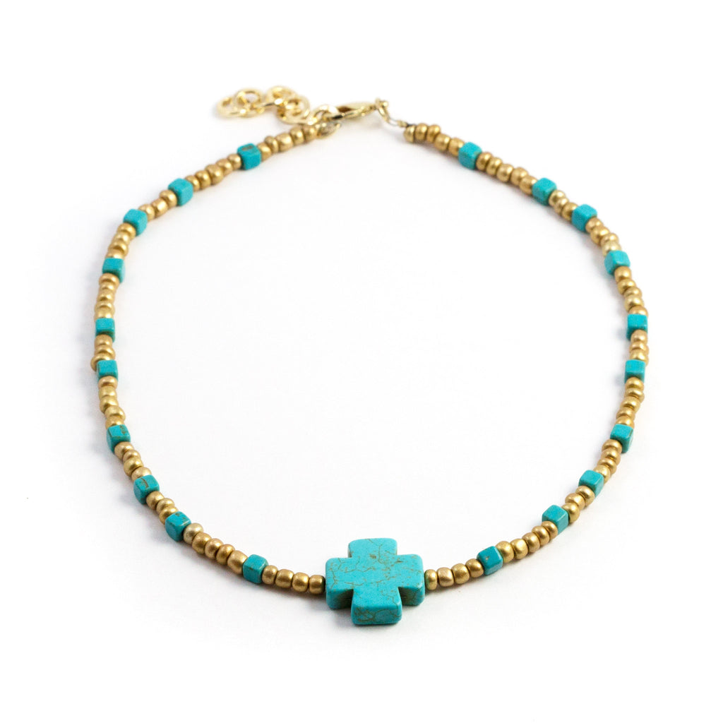 Cross Turquoise  and Beads Short Necklace