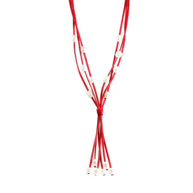 Lucero Red Freshwater Pearls Long Necklace
