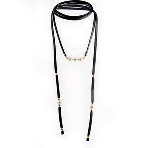 Tania Black Freshwater Pearls Lariat Necklace