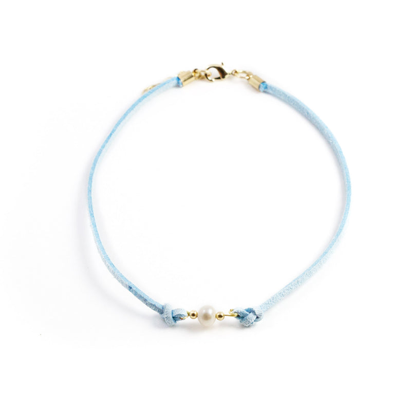 Paty Sky Blue Freshwater Pearl and Suede Necklace