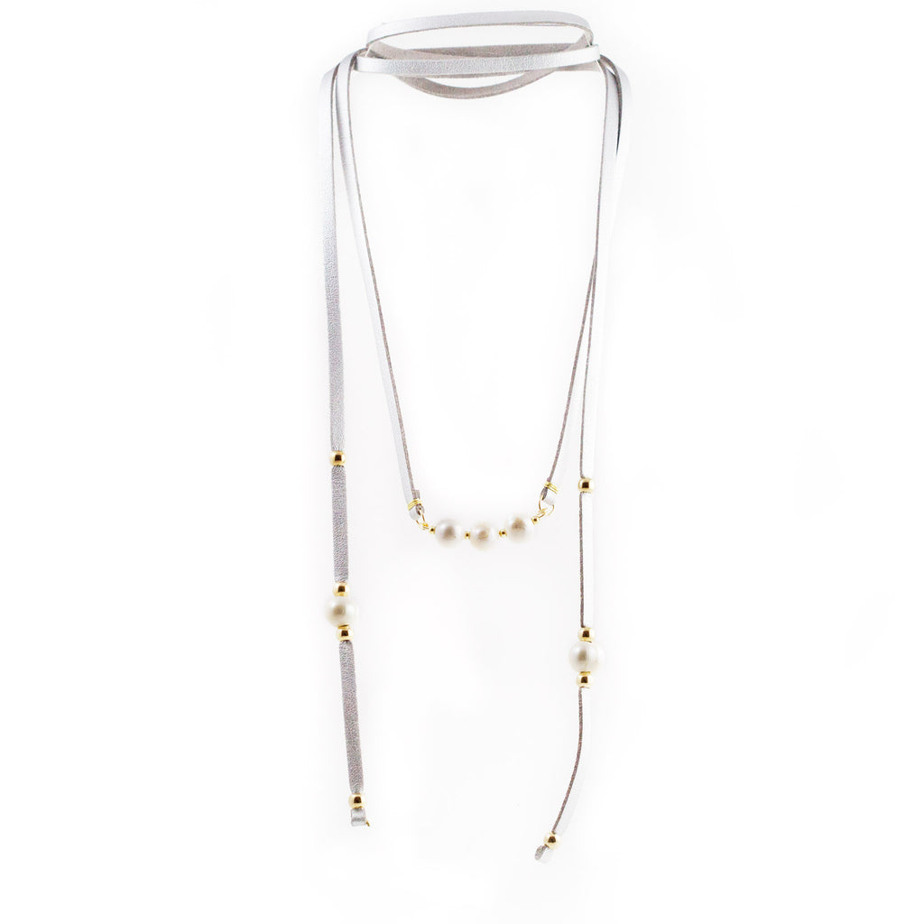 Tania Freshwater Pearls Lariat Necklace Silver