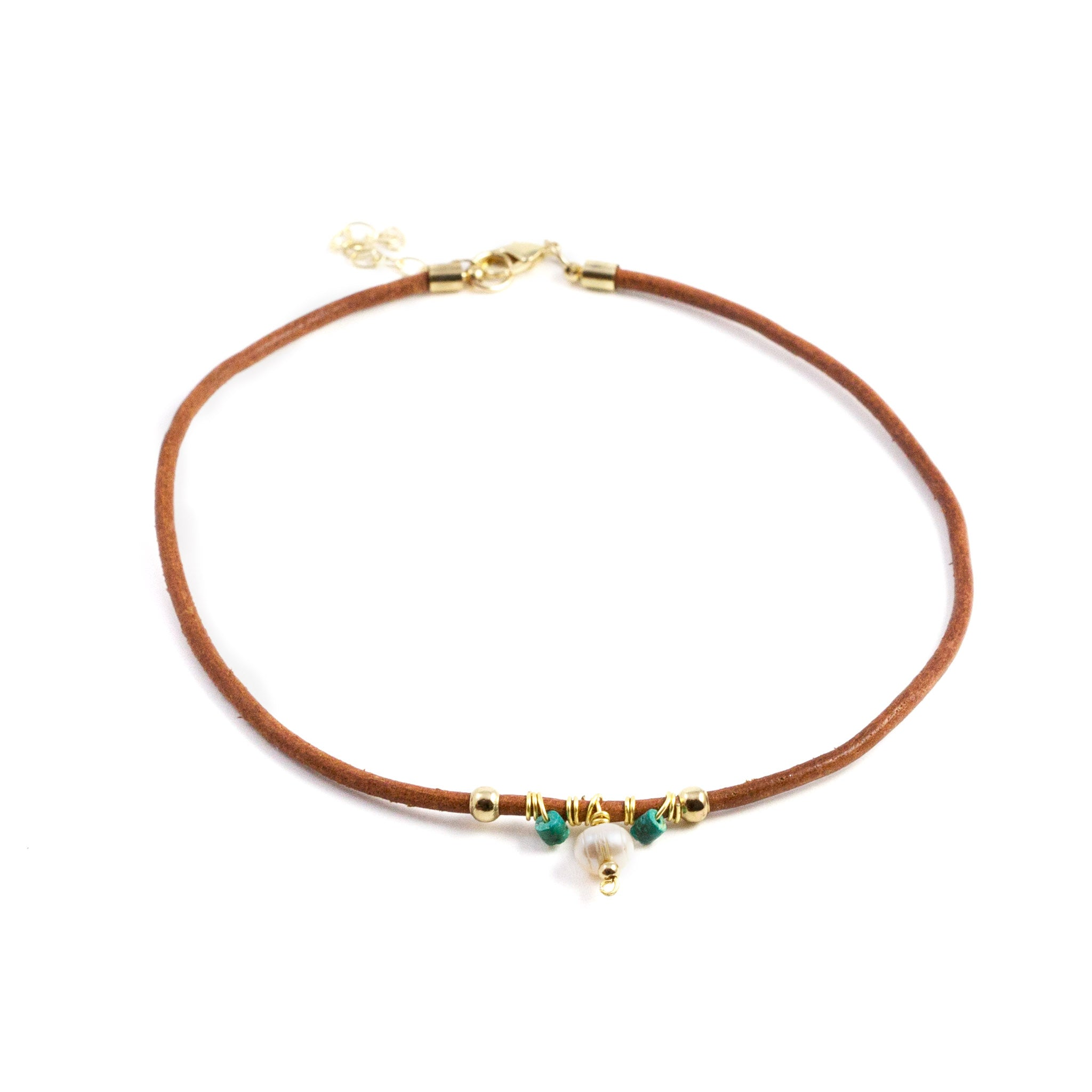 Mafe Leather Turquoise and Pearl Necklace