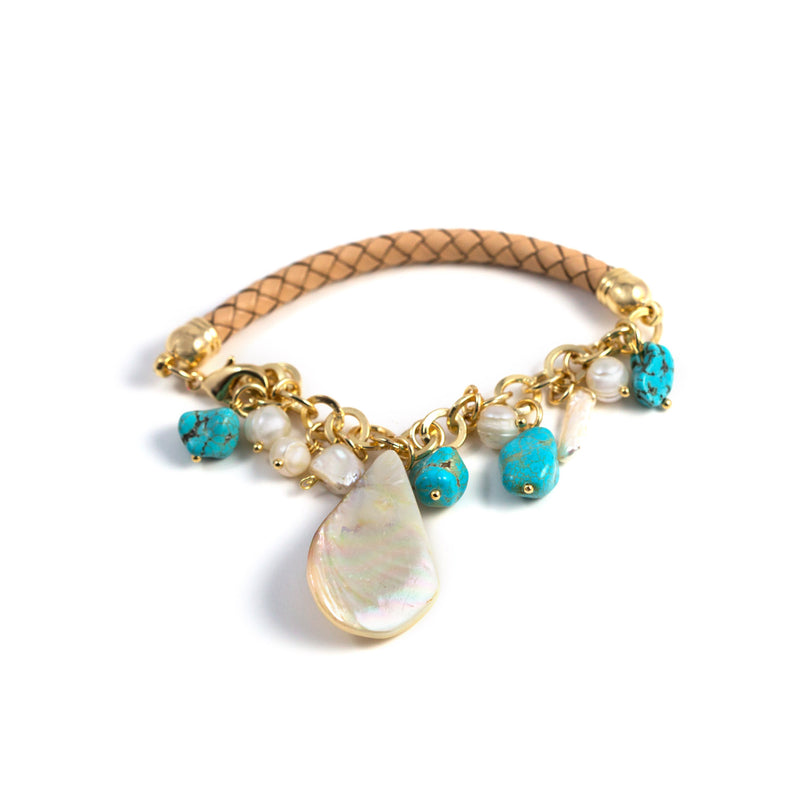 Dulce Freshwater Pearls, Turquoise and Leather Bracelet