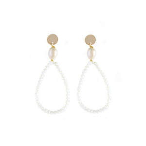 Angela Crystals and Freshwater Pearl Earrings White