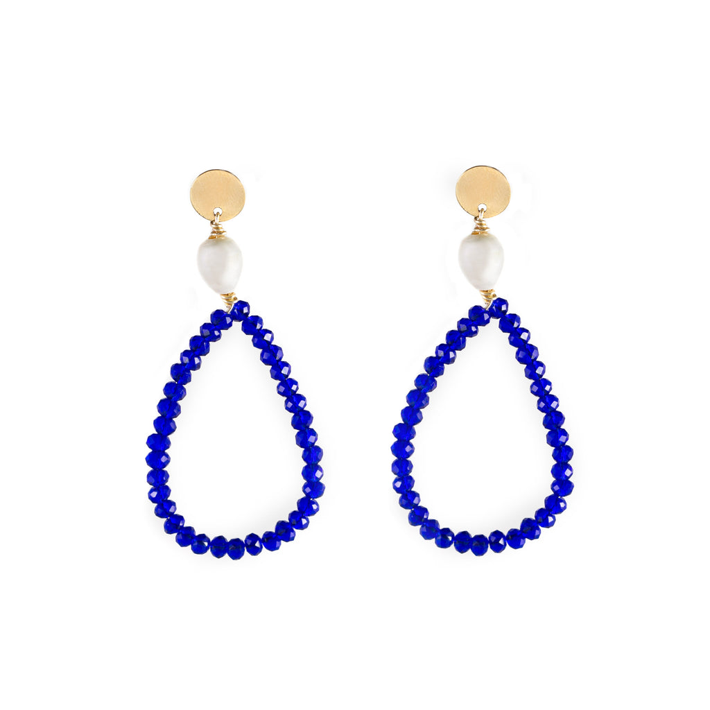 Sofia Crystals and Freshwater Pearl Earrings Royal Blue