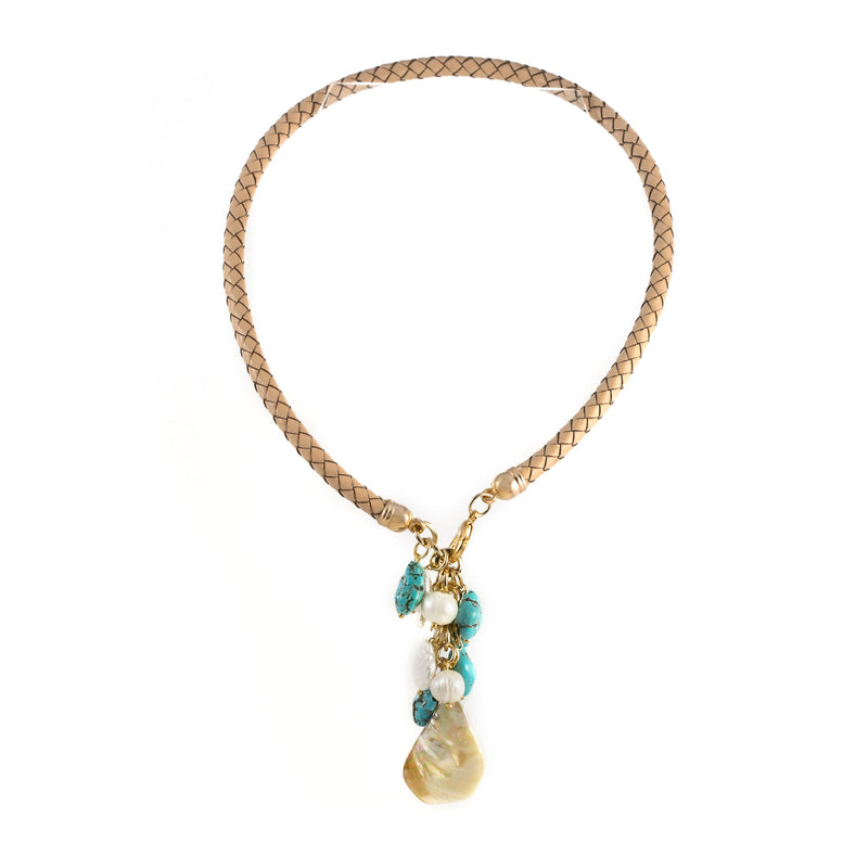 Windsor Turquoise and Mother of Pearl Necklace Brown