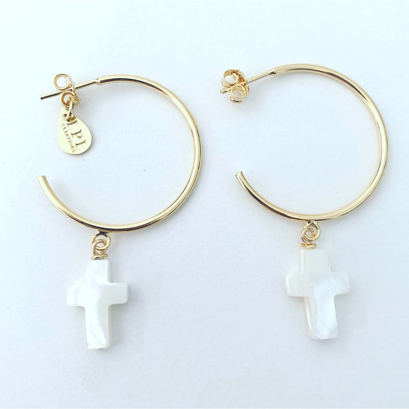 Cross Hoops Earrings