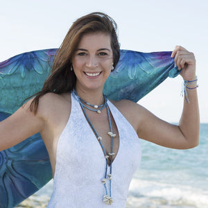 Patt Shells and Glass Beads Lariat Necklace Beach