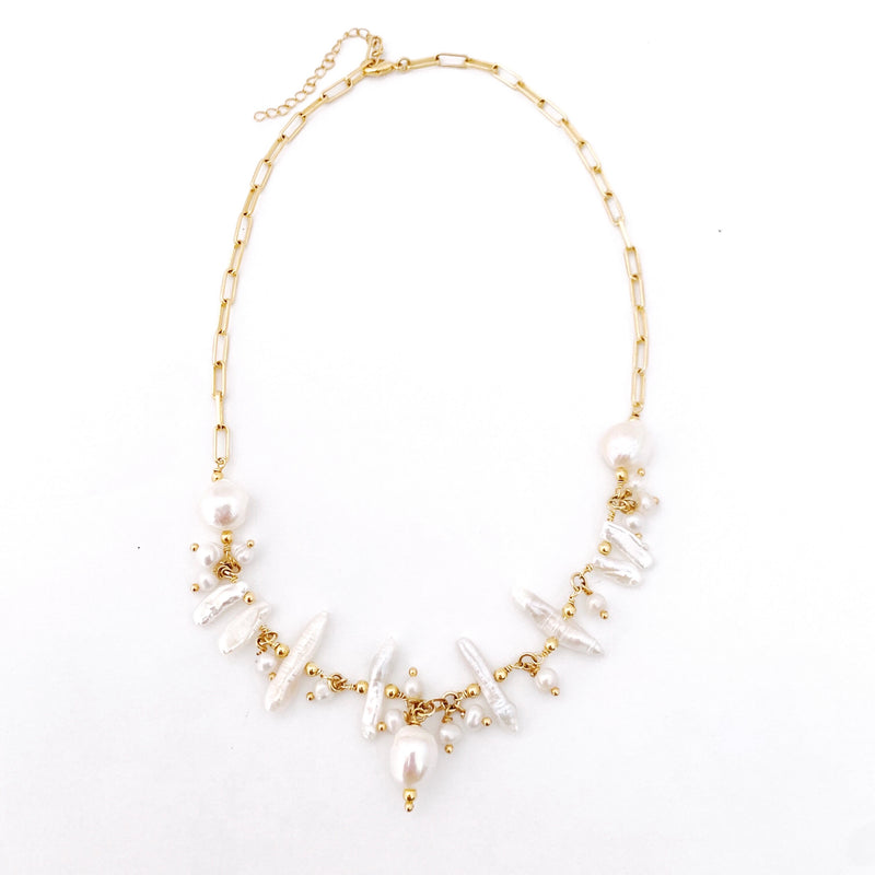 Raquel Freshwater Baroque and Mother of Pearl Necklace