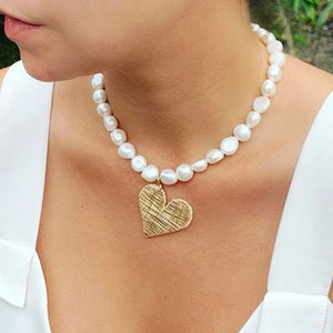 Heart Baroque Pearl Short Necklace