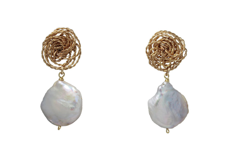 Gold Spiral Pearl Earrings
