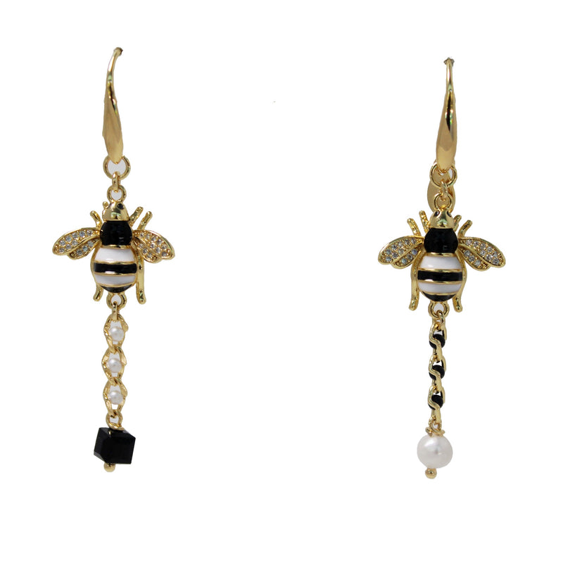 Black & White Bee Earrings