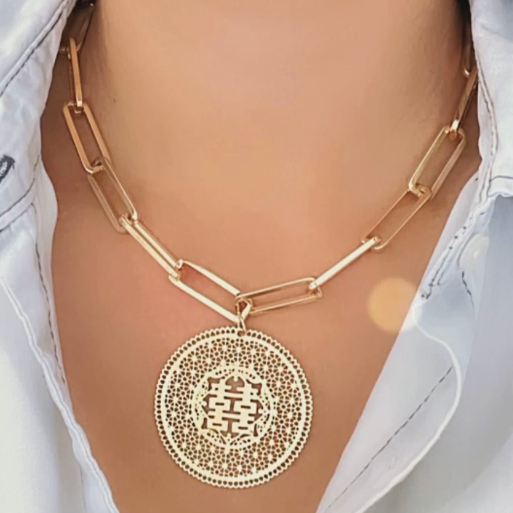 Chinesse Coin and  Paper Clip Chain Necklace
